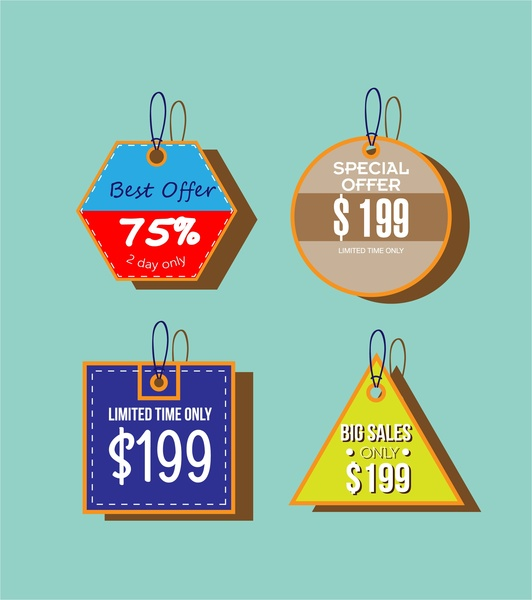 sale tags collection various colorful shapes design