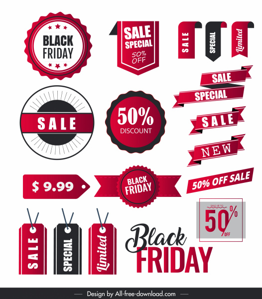 Sale tags templates colored modern flat 3d shapes Free