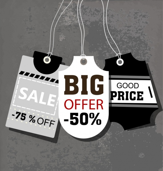 sale tags templates retro design black white decoration