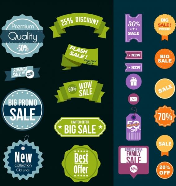 sales badge design elements serrated circle ribbon shapes
