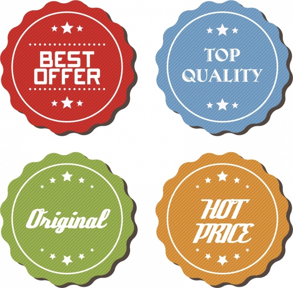sales badges collection colored serrated round design