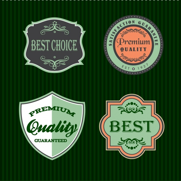 sales badges sets classical style various shapes isolation