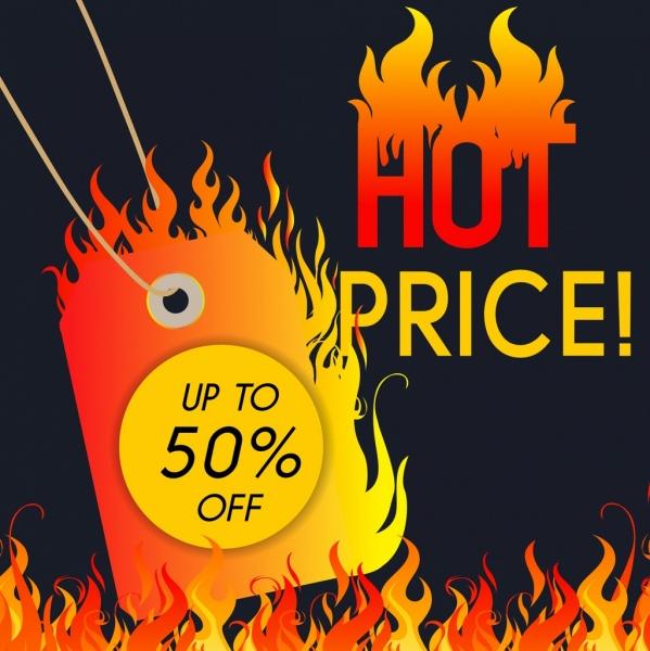 sales banner burning card flame design