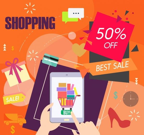 sales banner shopping design elements colored modern design