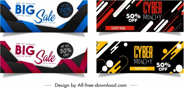 sales banner templates colorful modern dynamic decor