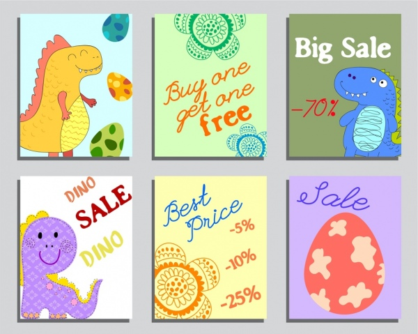 sales banner templates dinosaur egg flowers icons decor