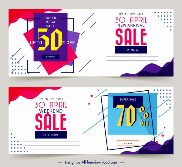 sales banner templates simple modern flat design