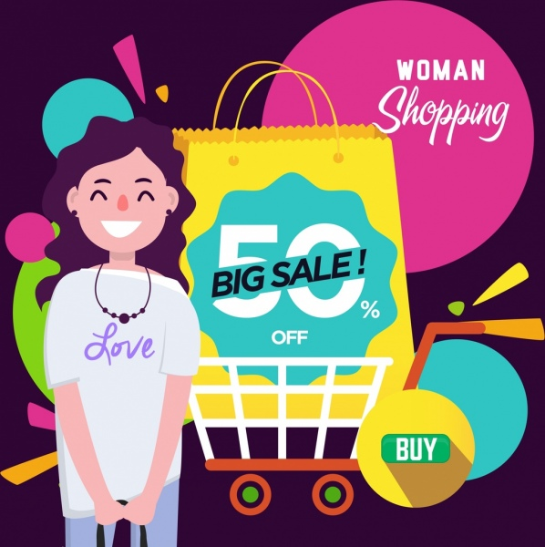 sales banner woman shopping design elements decor
