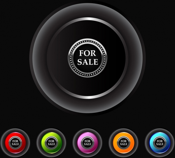 sales buttons collection shiny colored circles design