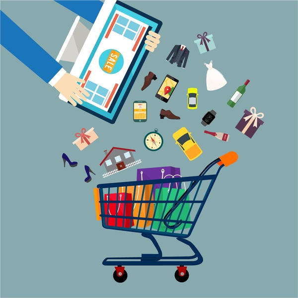 sales concepts design goods icons elements and carts