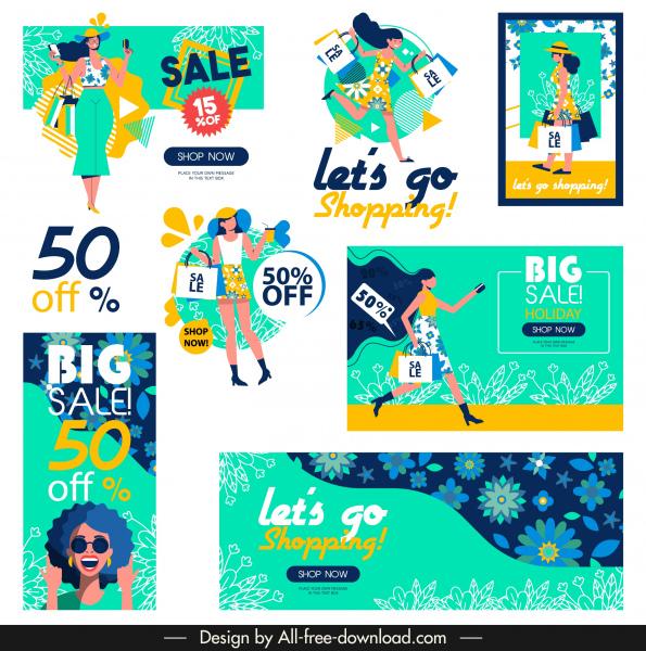 sales decor templates colorful decor shopper floral sketch