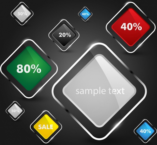 sales design elements shiny multicolored squares design