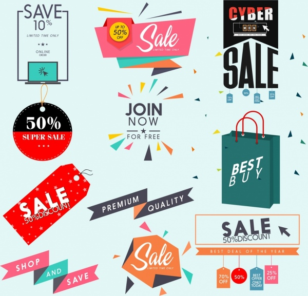sales design elements tags bag origami icons