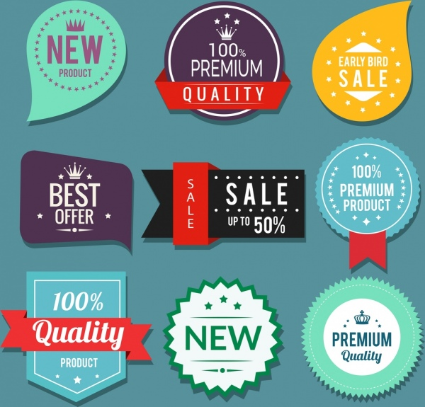 sales labels collection multicolored modern shapes