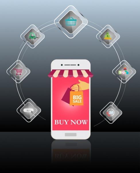 sales promotion banner ui phone icons circle design
