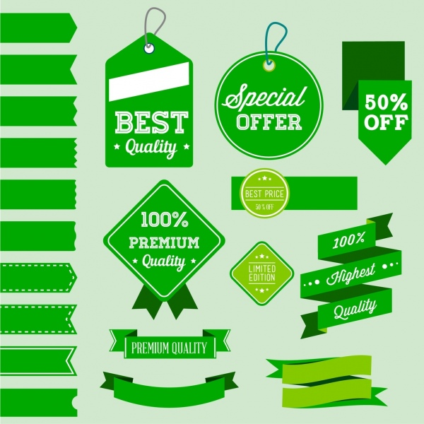 sales promotion tags collection various green shapes isolation