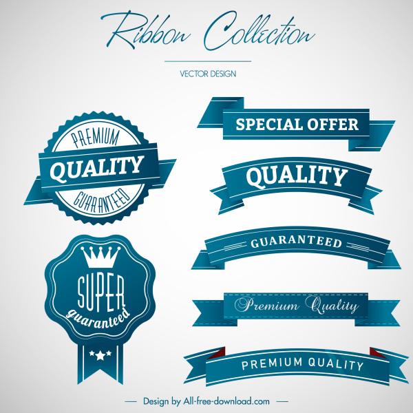 sales ribbon templates elegant blue decor