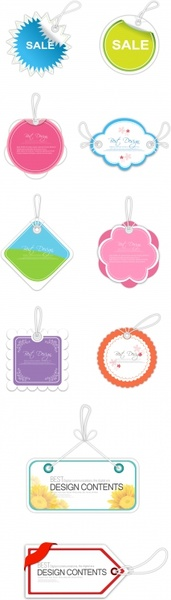 hang tags templates colored flat shapes design
