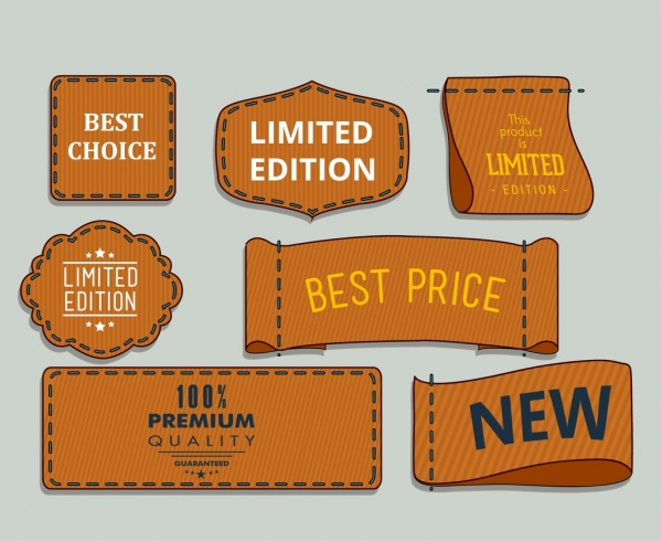 sales tags collection brown shapes isolation