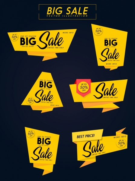 sales tags collection yellow origami decor