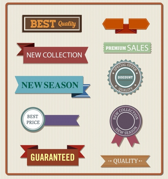 sales tags templates ribbon stamp icons classical decor free vector