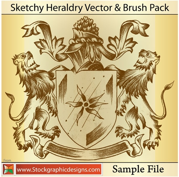 sample file from sketchy heraldry vector and photoshop brush