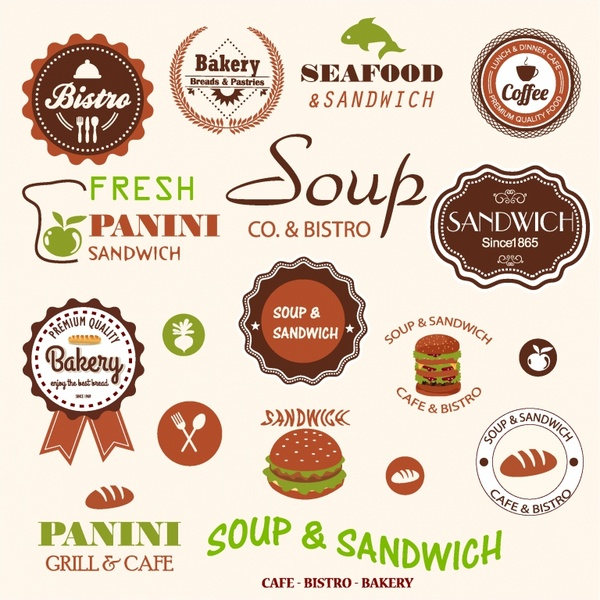 Sandwich bistro labels and icons