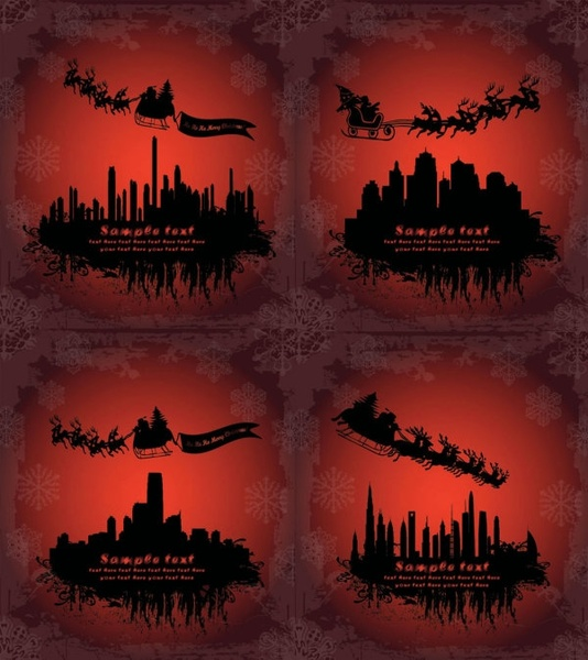 santa claus flying silhouette vector