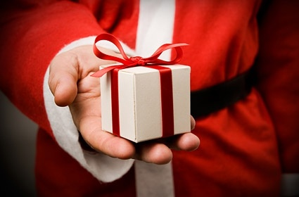 santa claus gifts stock photo