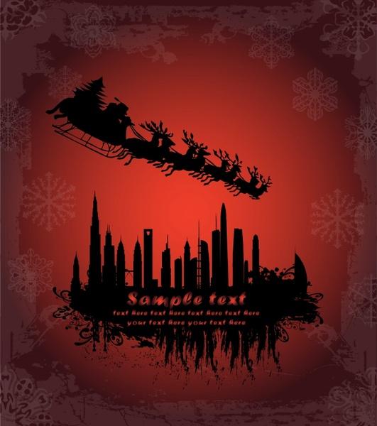 xmas background sleighing santa city silhouettes dark red