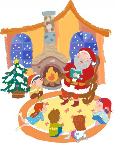 christmas tale painting santa children icons cartoon sketch