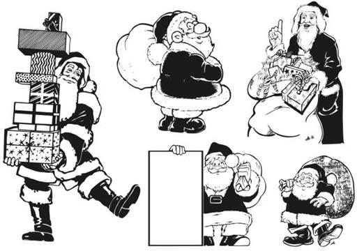 santa claus icons black white cartoon character sketch