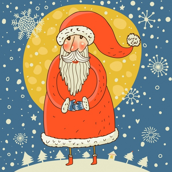 christmas background santa icon classical colored handdrawn sketch