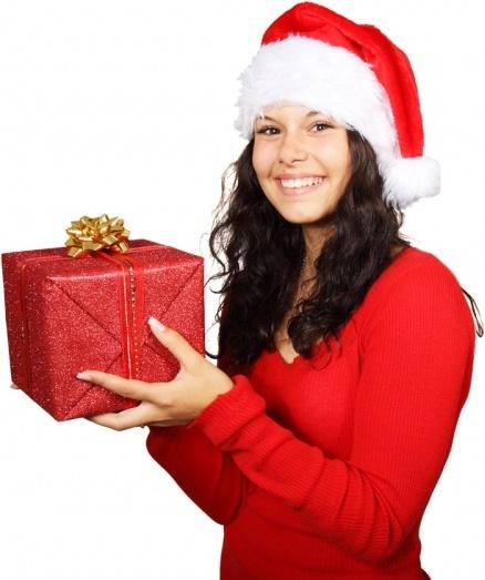 santa girl and christmas gift