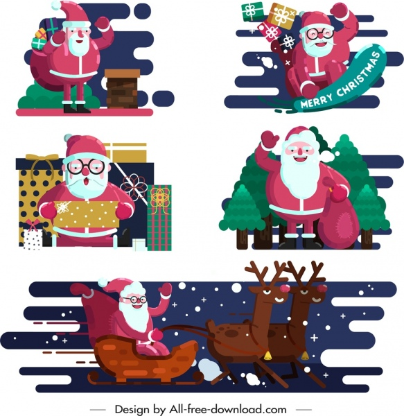 santa icons collection colored cartoon sketch