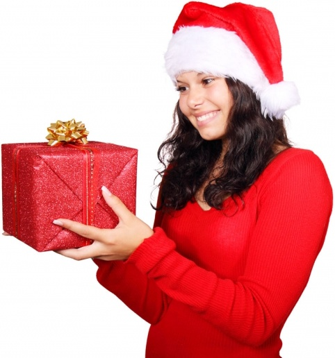 santa looking at gift