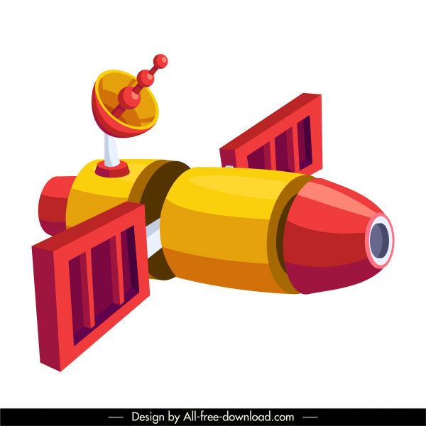 satellite spaceship icon shiny colored 3d sketch