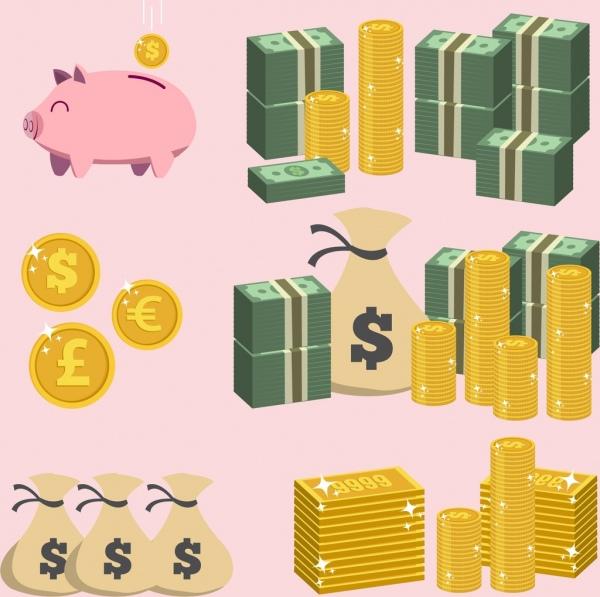 savings design elements piggy bank coin money icons