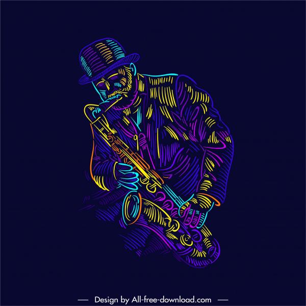 saxophonist icon dark colorful handdrawn sketch