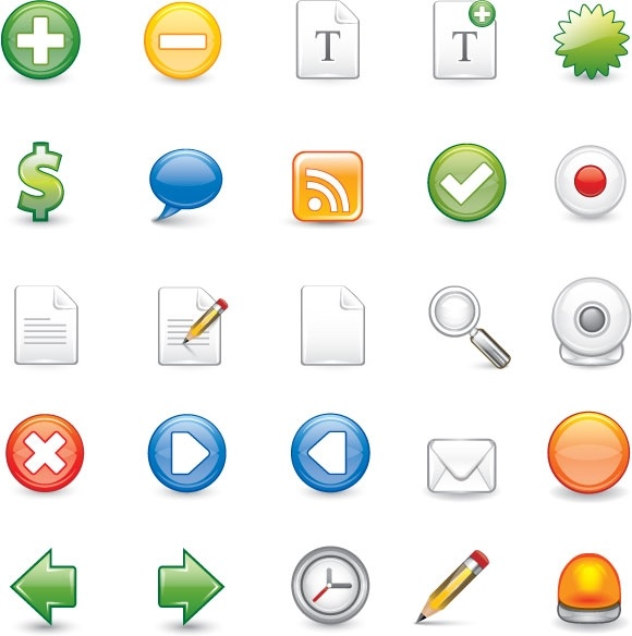 computer ui icons illustration with various styles
