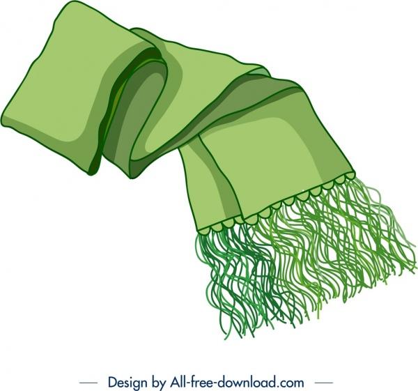scarf icon green 3d design