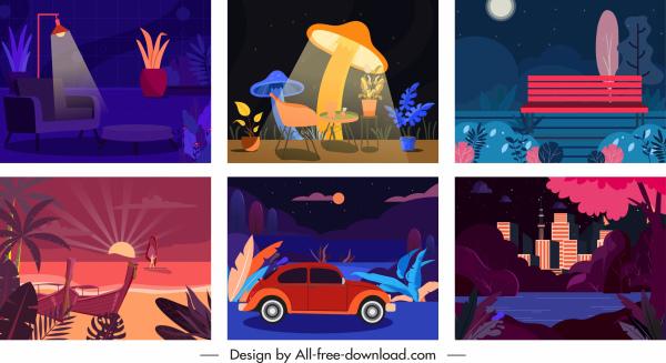 scene background templates dark colorful classical decor