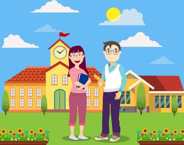 school background building teachers icons colored cartoon