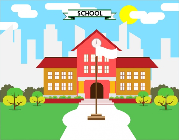 school concept design colored style sketch