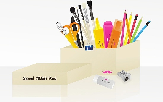 stationery box icons 3d colored realistic design
