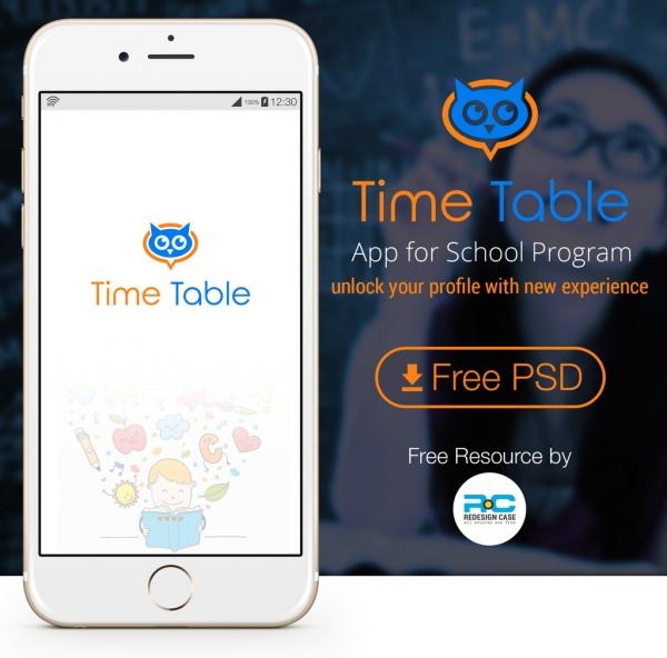 school time table mobile ui kit for app