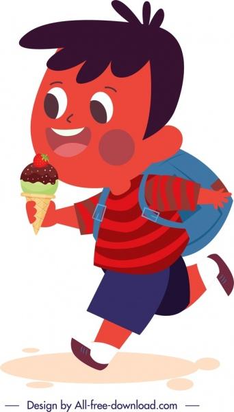 schoolboy icon ice cream decor cute cartoon character