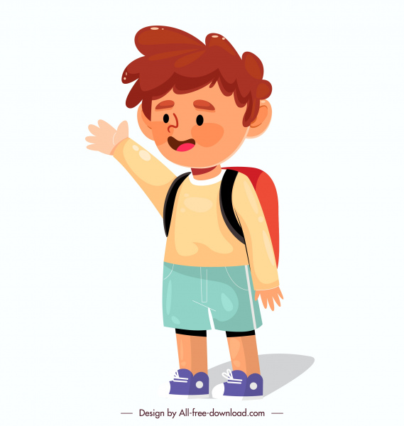 schoolboy icon lovely cartoon character sketch