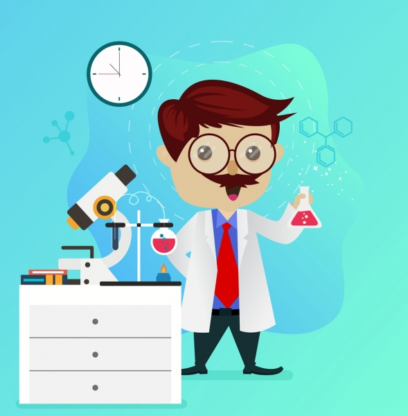 Science Laboratory Background Design: Science Background Lab Tools Male Scientist Icons Free