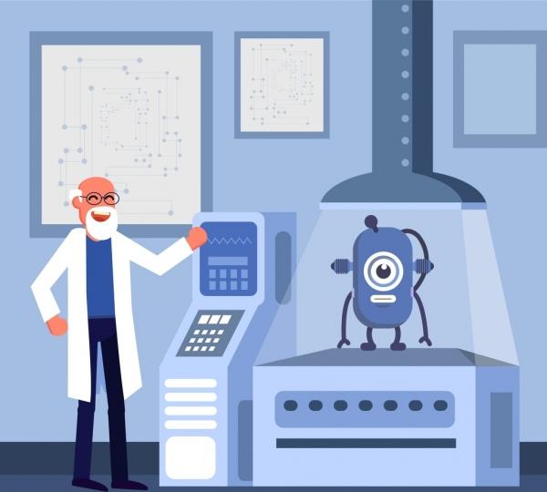 science background scientist robot icons cartoon design